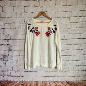Lucky Brand Shirt LongSleeve Embroidered Flowers M